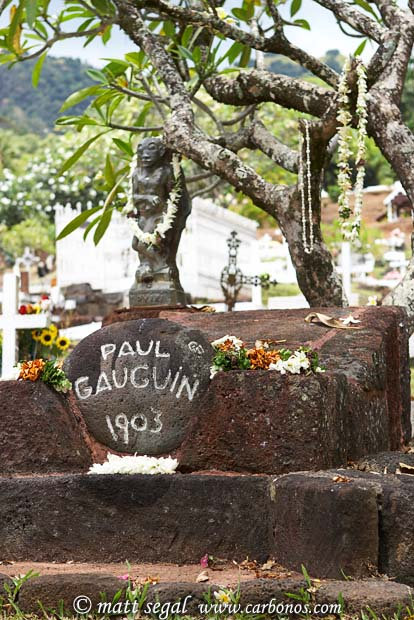 Image 884, Grave of Paul Gauguin. Atuona, Hiva Oa, Marquesas Islands, French Polynesia, Matt Segal, all rights reserved worldwide.  Keywords: Grave, Paul Gauguin, tombstone
